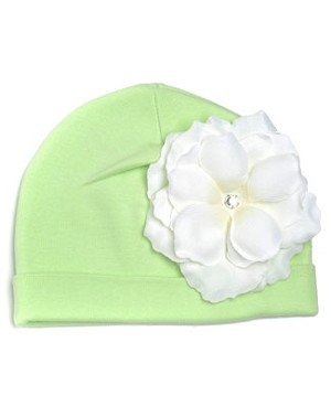 Z: Light Aloe W/ White Rose Beanie Hat