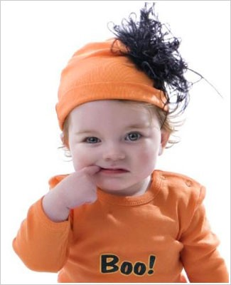 Z: Orange w/ Black Curly Marabou Beanie Hat