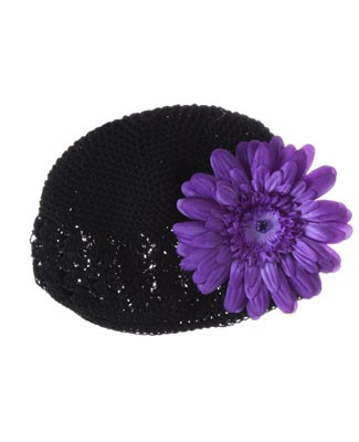 Z: Crochet Black Daisy Hat *Many Daisy Colors!*