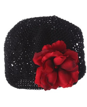 Z: Crochet Black Small Rose Hat *Many Rose Colors!*