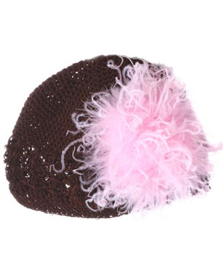 Z: Crochet Chocolate Curly Marabou Hat *Many Colors!*
