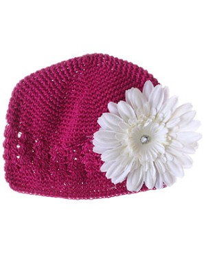 Z: Crochet Raspberry Daisy Hat *Many Daisy Colors!*