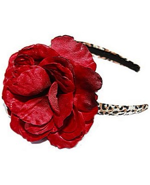 Z: Tan/Black Leopard Print Red Rose Hard Headband