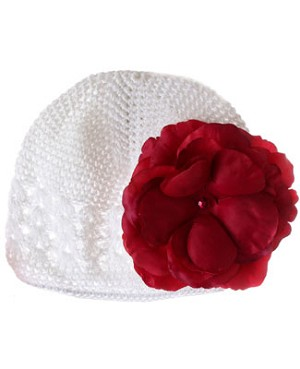 Z: Crochet White Large Rose Hat *Many Rose Colors!*
