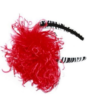 Z: Zebra Print Red Curly Marabou Hard Headband