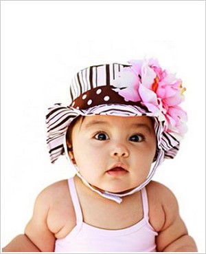 Z: Pink/Brown Stripe & Dot Sun Hat *Many Flower Colors!*