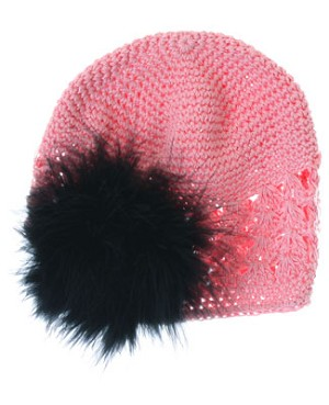 Z: Crochet Candy Pink Marabou Hat *Many Colors!*