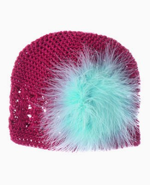 Z: Crochet Raspberry Marabou Hat *Many Colors!*