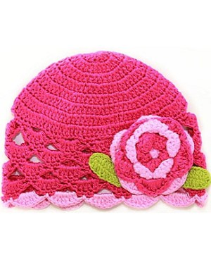Z: Raspberry Scallop Crochet Hat w/ Crochet Flower