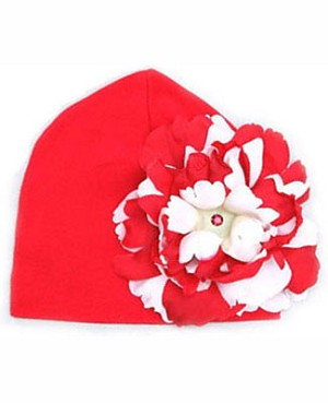 Z: Red Beanie Hat with Red/White Peony