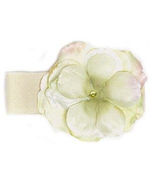 Z:  Cream/Green Rose Headband