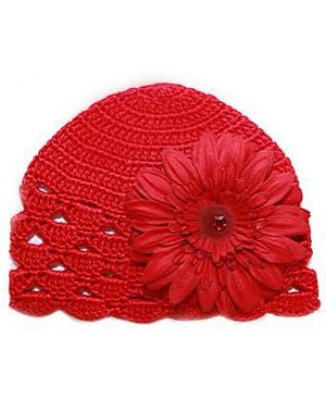 Z: Red Scallop Crochet Hat w/ Red Daisy