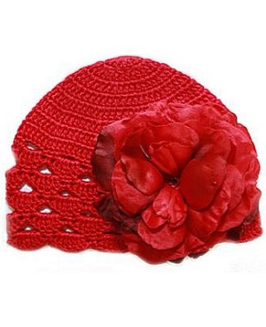 Z: Red Scallop Crochet Hat w/ Red Rose