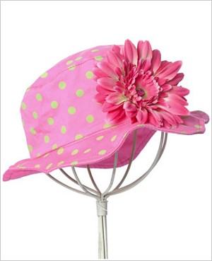 Z: Candy Pink Daisy Sun Hat W/ Lime Dots
