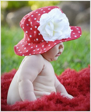Z: Red Sun Hat w/ White Dots