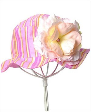 Z: Candy Pink Small Rose Striped Sun Hat