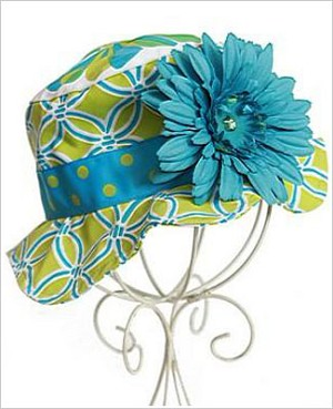 Z: Teal/Green Sun Hat *Many Flower Colors!*