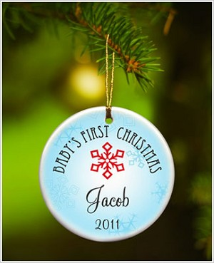 JDS *PERSONALIZED* Ceramic Blue *Baby's First Christmas* Ornament - Style 2