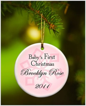 JDS *PERSONALIZED* Ceramic Pink *Baby's First Christmas* Ornament - Style 1