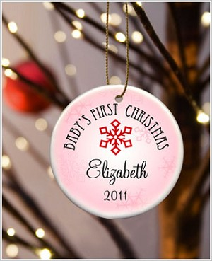 JDS *PERSONALIZED* Ceramic Pink *Baby's First Christmas* Ornament - Style 2