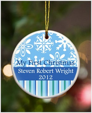 JDS *PERSONALIZED* Ceramic Blue Stripes *My First Christmas* Ornament