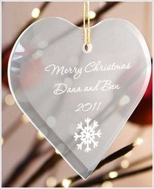 JDS *PERSONALIZED* Glass Heart Ornament