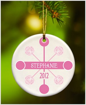 JDS *PERSONALIZED* Ceramic Pink Contemporary Classic Ornament