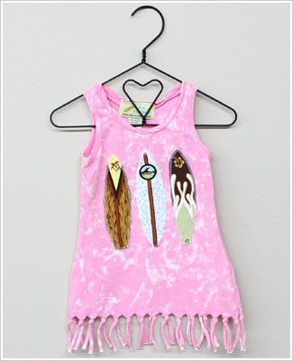Kai Kreations Pink Tye Dye Sleeveless Tassle Dress w/ Surf Boards