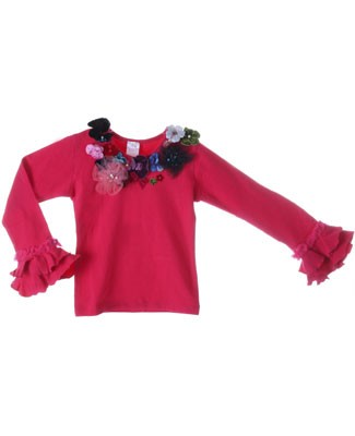 Kaiya Eve Raspberry L/S Floral Couture Top w/ Jewels & Sequins