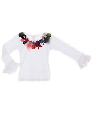 Kaiya Eve White L/S Floral Couture Top w/ Jewels & Sequins