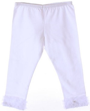 Kaiya Eve White Ruffle Hem Leggings w/ Bow