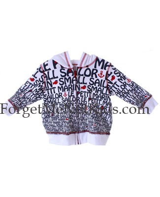 Bobby Mack *LE PETIT SAILOR* White Print Zip Hoodie Sweater