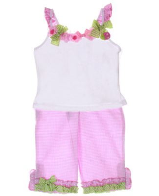 Kate Mack *SLICE OF SUMMER* White Strappy Shirt & Pink Pant Set