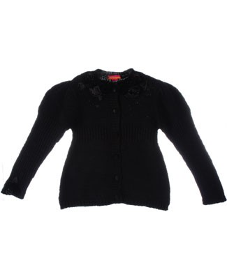 Kate Mack Black Knitted Button Front Sweater w/ Roses and Beads