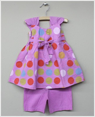 Keedo *60's Set* Lavender Polka Dot Sun Top and Bloomer Set
