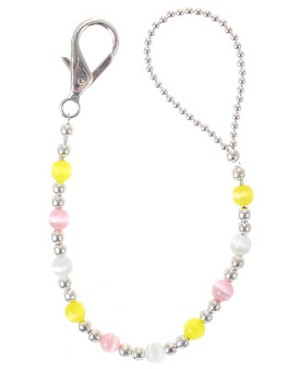 II: Klassy Pacy Clips Pink/White/Yellow Round Bead Pacifier Clip