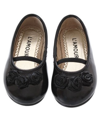 OS: L'Amour Patent Black Triple Rose Dress Shoe