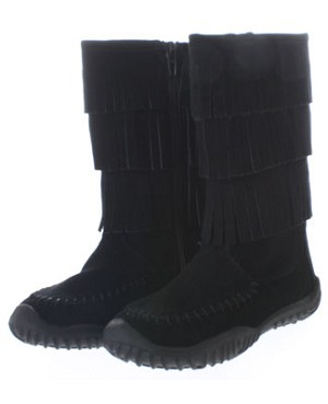 Z: L'Amour BLACK Fringe Boots w/ Side Zipper