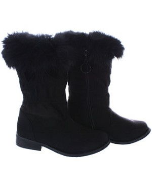 FS: L'Amour Black Fur Top Boots w/ Bow
