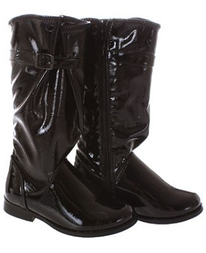 FS: L'Amour Tall Black Patent Boot w/ Buckle