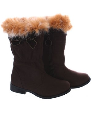 FS: L'Amour Brown Fur Top Boots w/ Bow