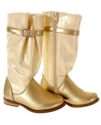 FS: L'Amour Tall Cream/Gold Patent Boot w/ Buckle
