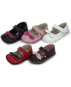 Z: L'Amour BLACK Stitched Baby Shoes w/ Bow