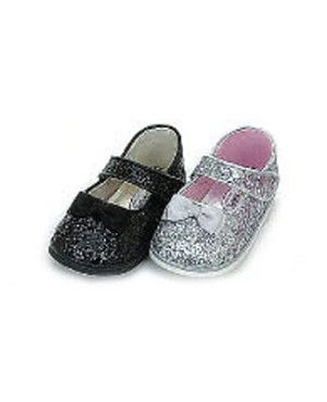 Z: L'Amour SILVER Glitter Mary Jane Shoes w/ Satin Bow