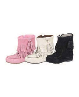 Z: L'Amour BEIGE Fringe Ankle Boot with Side Zipper