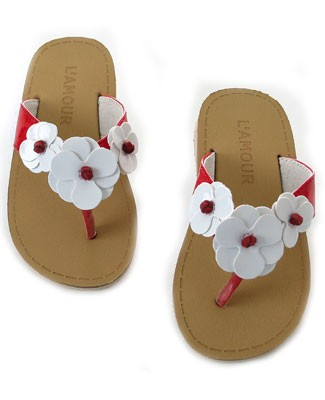 OS: L'Amour Patent Red Triple Flower Leather Flip Flops