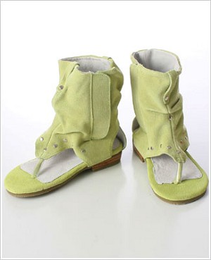 Z: L'Amour LIME Greek Slouch Suede Ankle Sandal
