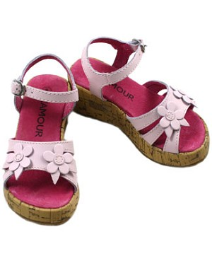 OS: L'Amour Pink Tall Wedge Girl Sandals