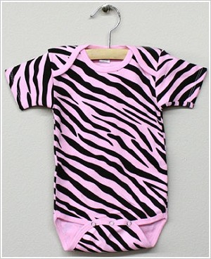 Laughing Giraffe Pink Zebra Short Sleeve Bodysuit