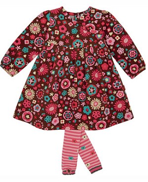 Le Top *Cute Cookie* Brown/Pink L/S Crossover Cord Dress & Footless Tights